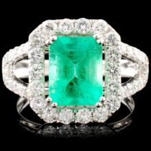 18K Gold 1.97ct Emerald & 1.19ctw Diamond Ring