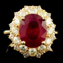 14K Gold 5.61ct Ruby & 1.45ctw Diamond Ring