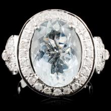 14K Gold 5.63ct Aquamarine & 0.79ctw Diamond Ring