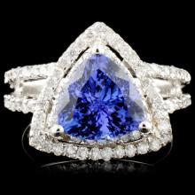 14K Gold 2.98ct Tanzanite & 0.90ctw Diamond Ring