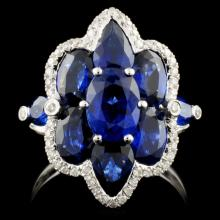18K Gold 5.03ct Sapphire & 0.18ct Diamond Ring
