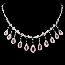 18K Gold 5.16ct Ruby & 3.40ctw Diamond Necklace