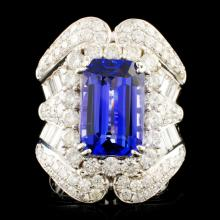 18K Gold 5.95ct Tanzanite & 3.40ctw Diamond Ring