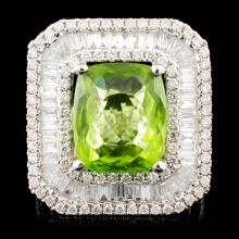 18K Gold 5.65ct Peridot & 1.73ctw Diamond Ring