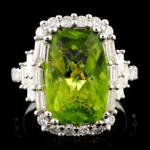 18K Gold 6.55ct Peridot & 1.29ctw Diamond Ring