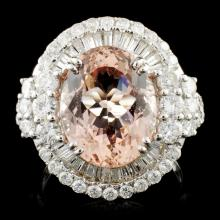 18K Gold 5.74ct Morganite & 1.89ctw Diamond Ring