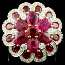 18K Gold 6.15ct Ruby & 0.59ctw Diamond Ring