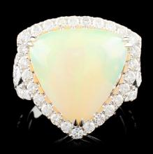 18K Gold 6.63ct Opal & 1.22ctw Diamond Ring