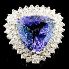 14K Gold 6.82ct Tanzanite & 1.39ctw Diamond Ring