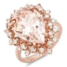 14K Gold 7.00ct Morganite & 0.75ct Diamond Ring