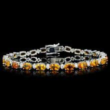 14K Gold 10.00ct Sapphire & 1.00ctw Diamond Bracel