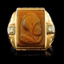 10k Yellow Gold Tigers-Eye Intaglio Trojan Soldier
