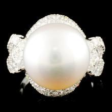 14K Gold 13.00MM Pearl & 1.92ctw Diamond Ring