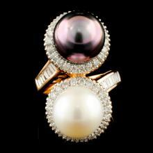 18K Gold 11.00MM Pearl & 1.06ctw Diamond Ring