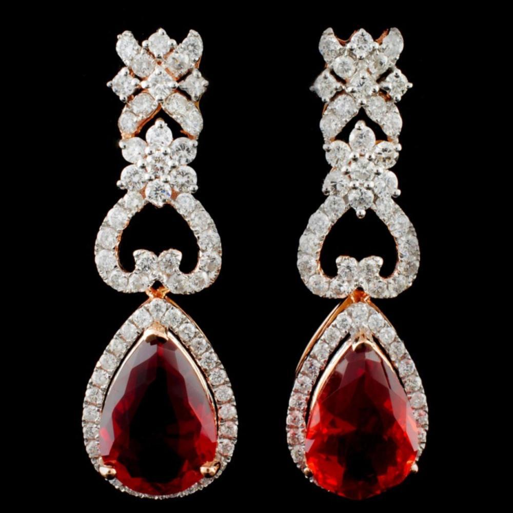 14K Gold 5.90ctw Fire Opal & 2.10ctw Diamond Earri