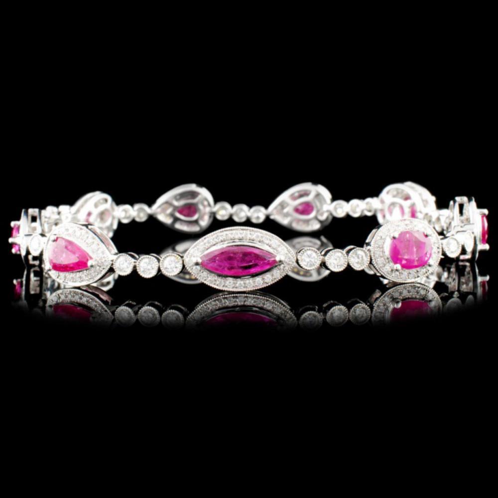 18K Gold 4.90ctw Ruby & 1.57ctw Diamond Bracelet