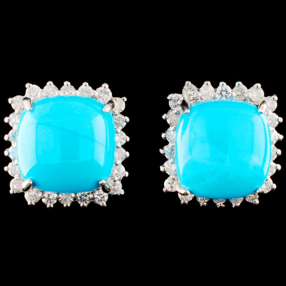 14K Gold 12.28ct Turquoise & 1.22ctw Diamond Earri