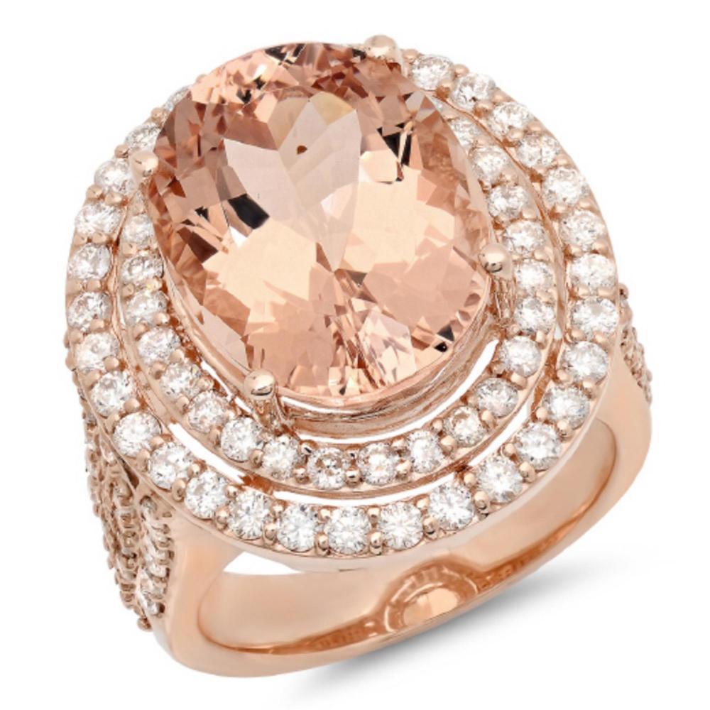 14K Gold 11.00ct Morganite & 2.00ct Morganite Ring