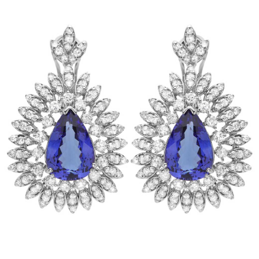 14K Gold 11.00ct Tanzanite & 4.00ct Diamond Earrin