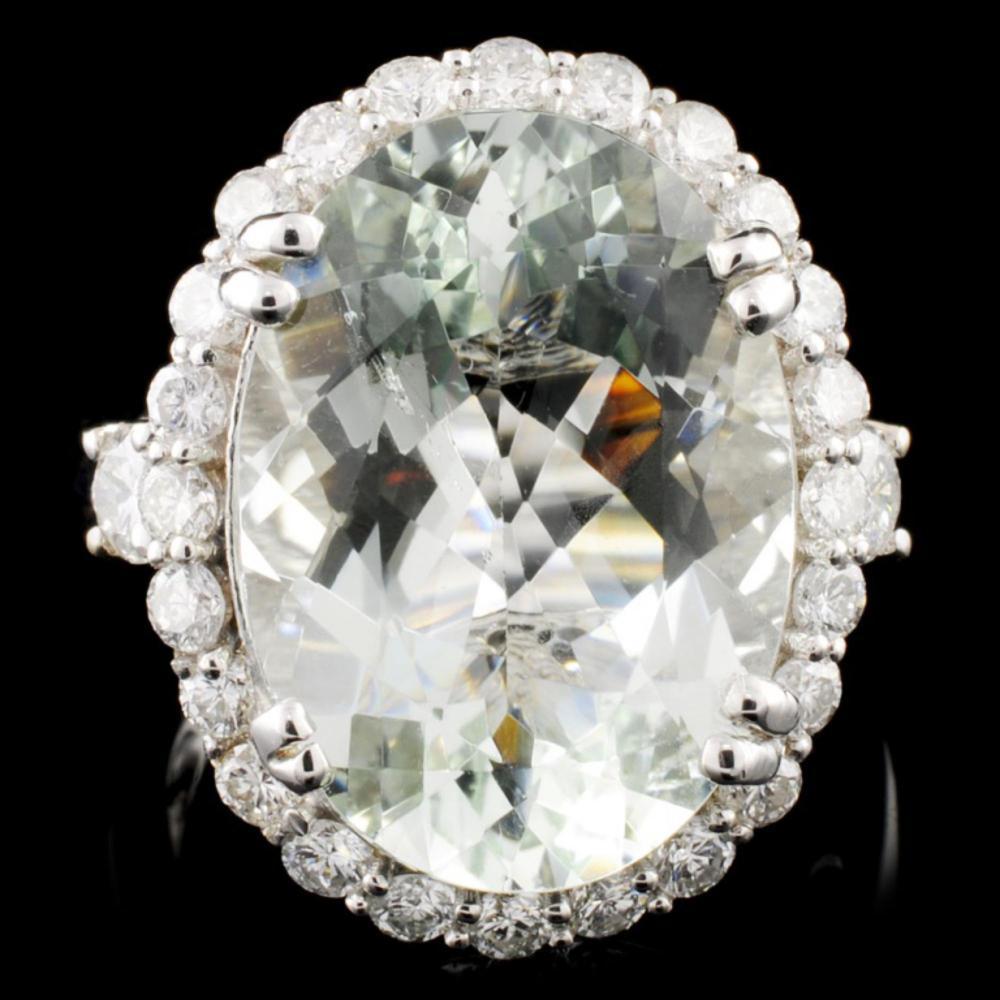 14K Gold 10.00ct Aquamarine & 1.20ctw Diamond Ring
