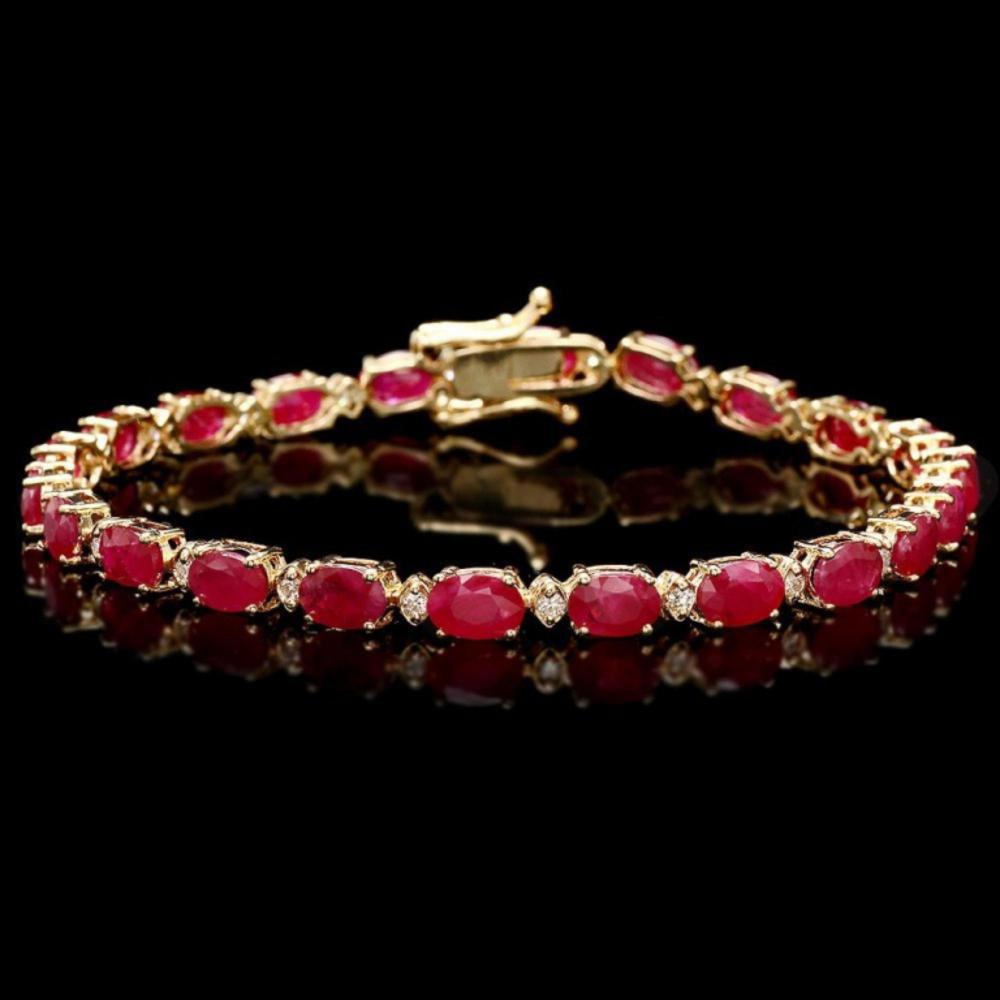 `14k Gold 11.00ct Ruby & 0.50ct Diamond Bracelet