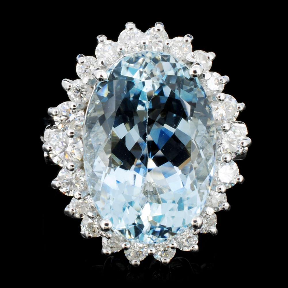 14K Gold 10.00ct Aquamarine & 1.25ctw Diamond Ring