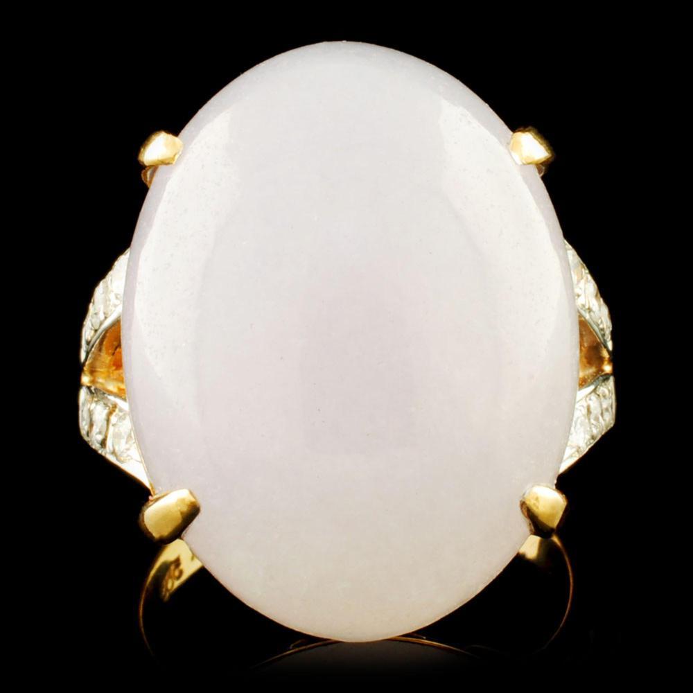 14K Gold 15.00ct Jade & 0.25ctw Diamond Ring