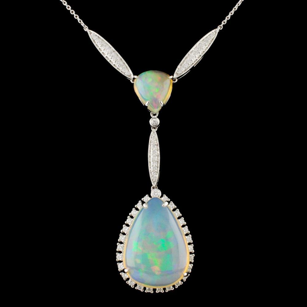 14K Gold 15.46ct Opal & 0.77ctw Diamond Necklace