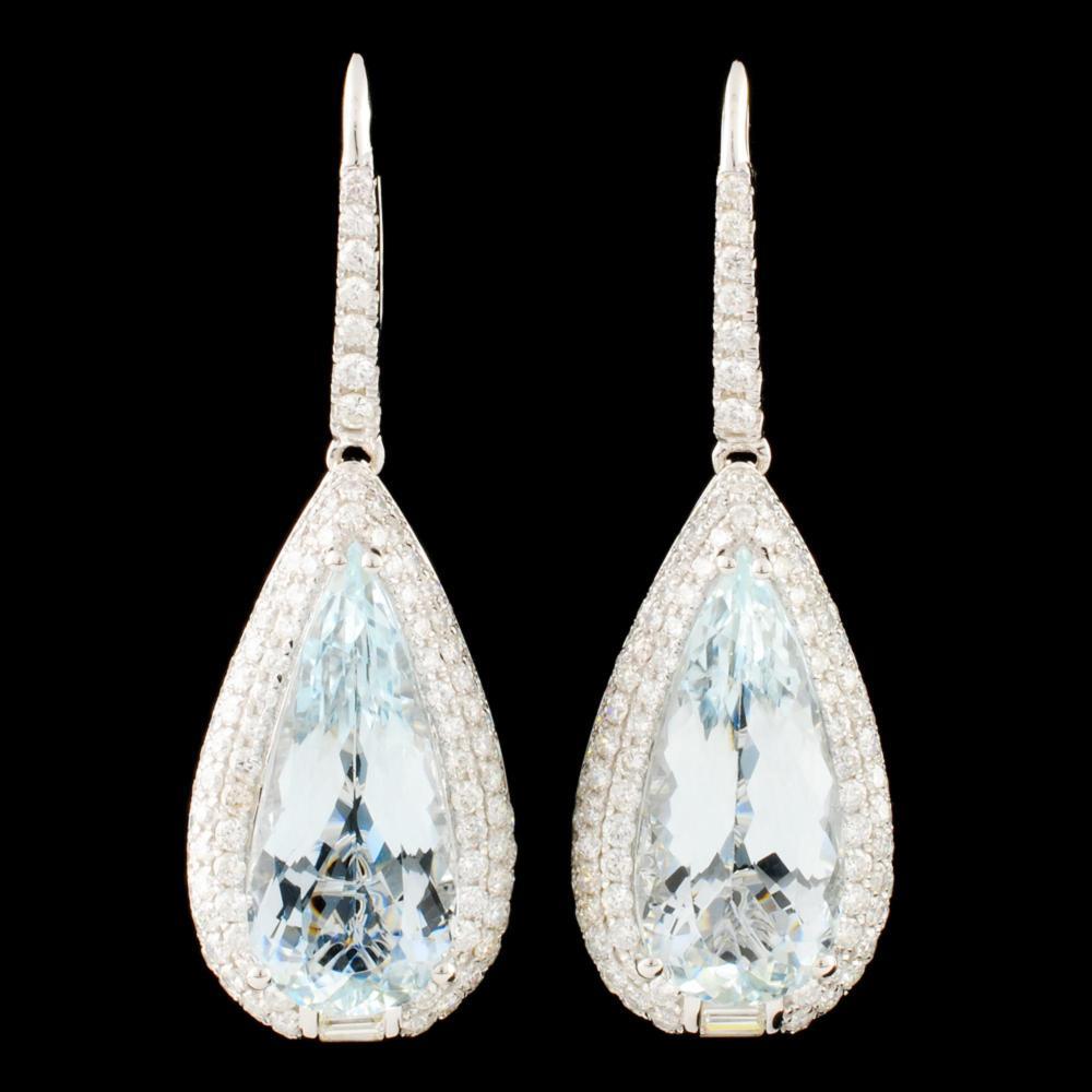 14K Gold 15.48ct Aquamarine & 3.55ctw Diamond Earr