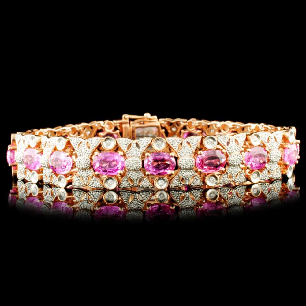 14K Gold 13.81ct Sapphire & 1.20ctw Diamond Bracel