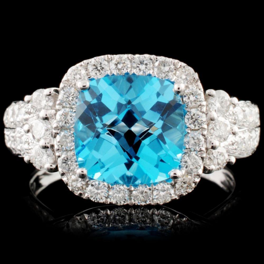 14K Gold 2.82ct Topaz & 0.76ctw Diamond Ring