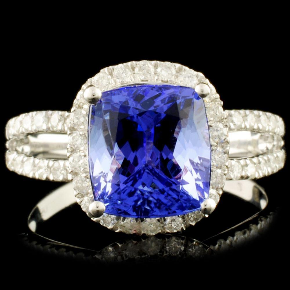 18K Gold 3.38ct Tanzanite & 0.44ctw Diamond Ring