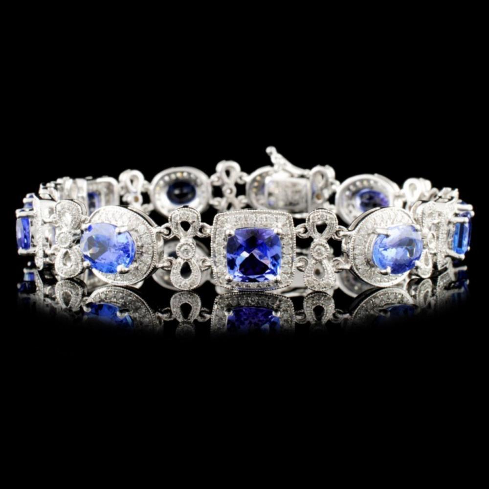 14K Gold 13.09ct Tanzanite & 1.77ct Diamond Bracel