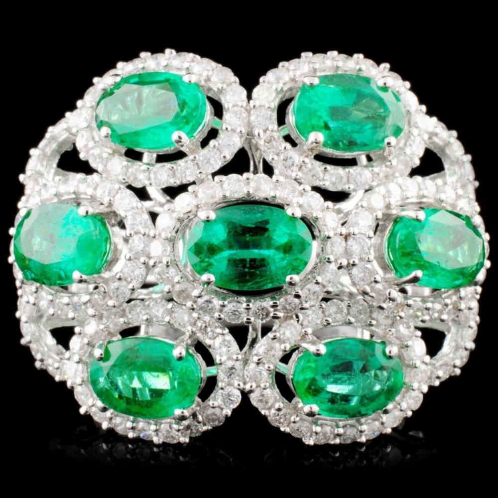 18K Gold 2.80ctw Emerald & 1.07ctw Diamond Ring