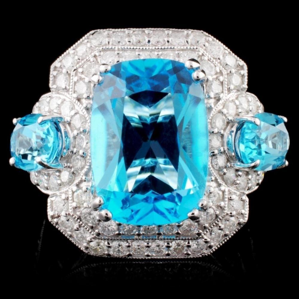 14K White Gold 8.34ct Topaz & 1.25ct Diamond Ring