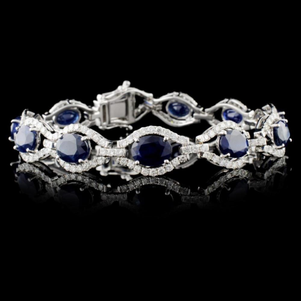14K White Gold 14.92ct Sapphire & 3.53ctw Diamond