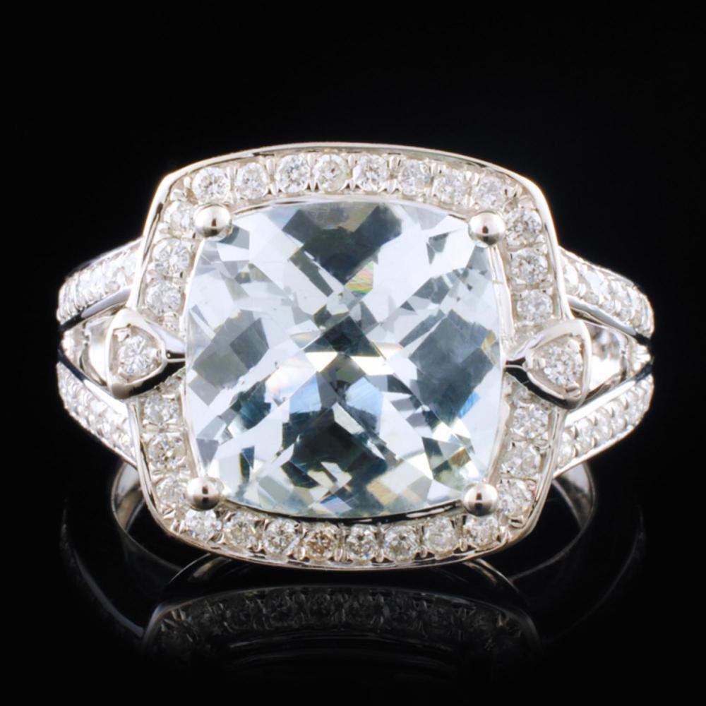 14K White Gold 3.96ct Aquamarine & 0.46ctw Diamond