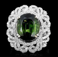 18K Gold 10.19ct Tourmaline & 2.12ct Diamond Ring