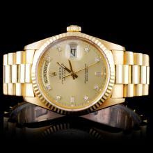 Rolex YG Day-Date Men's Diamond Wristwatch