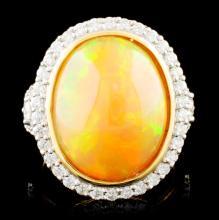 18K Gold 7.87ct Opal & 1.02ctw Diamond Ring