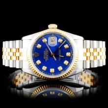 Rolex YG/SS DateJust 36mm Diamond Wristwatch