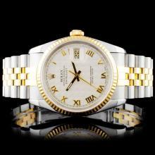 Rolex YG/SS DateJust 36mm Ivory Pyramid Wristwatch