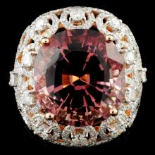 18K Gold 17.17ct Tourmaline & 2.55ctw Diamond Ring