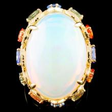 18K Gold 17.18ct Opal and 0.46ctw Diamond Ring