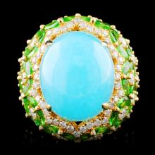 18K Gold 17.60ct Moonstone & 1.63ctw Diamond Ring