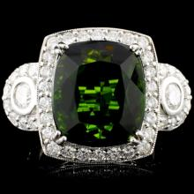 14K Gold 13.08ct Tourmaline & 1.59ctw Diamond Ring