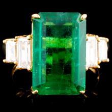 18K Gold 7.82ct Emerald & 1.07ctw Diamond Ring