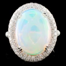 14K White Gold 5.45ct Opal & 1.30ct Diamond Ring