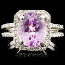 14K Gold 4.18ct Kunzite & 0.44ctw Diamond Ring