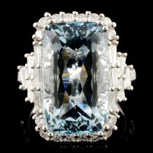 18K Gold 11.09ct Aquamarine & 1.47ctw Diamond Ring